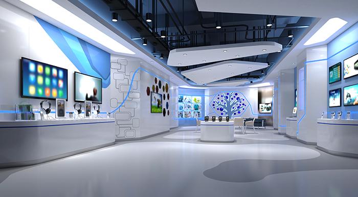 The interior of a white, futuristic building