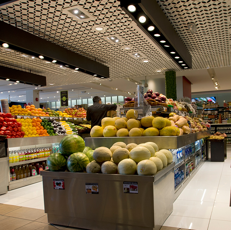 The produce section in a recently-constructed Los Angeles grocery store