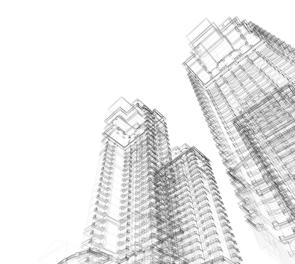 Drawing of several planned Los Angeles buildings