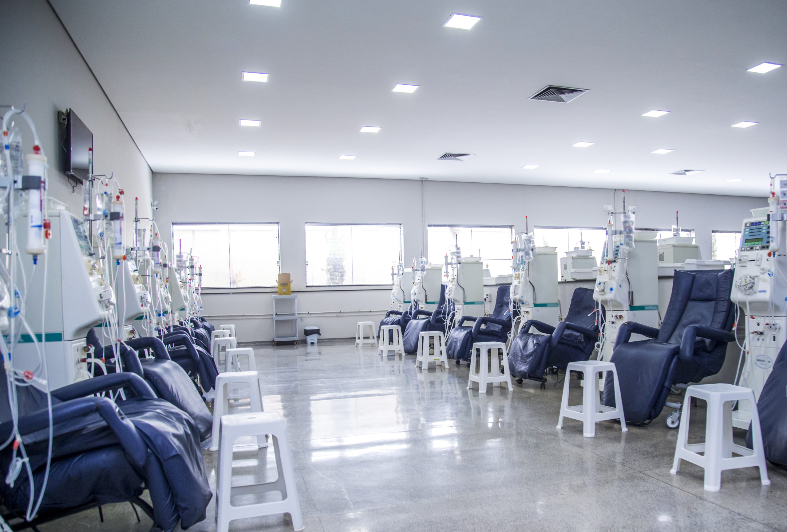 A hemodialysis room in a recently-constructed medical office