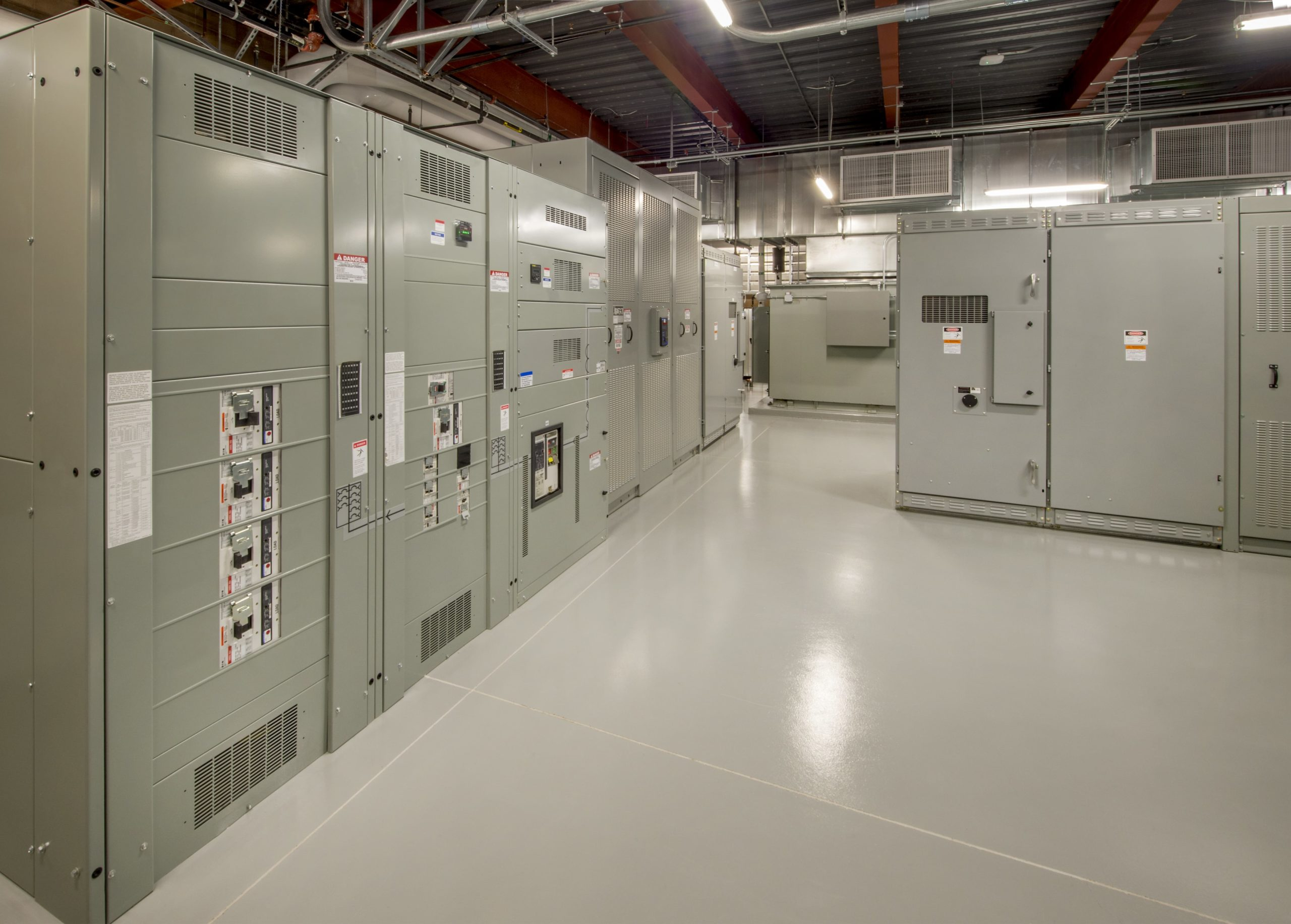 Electrical room with clean floor