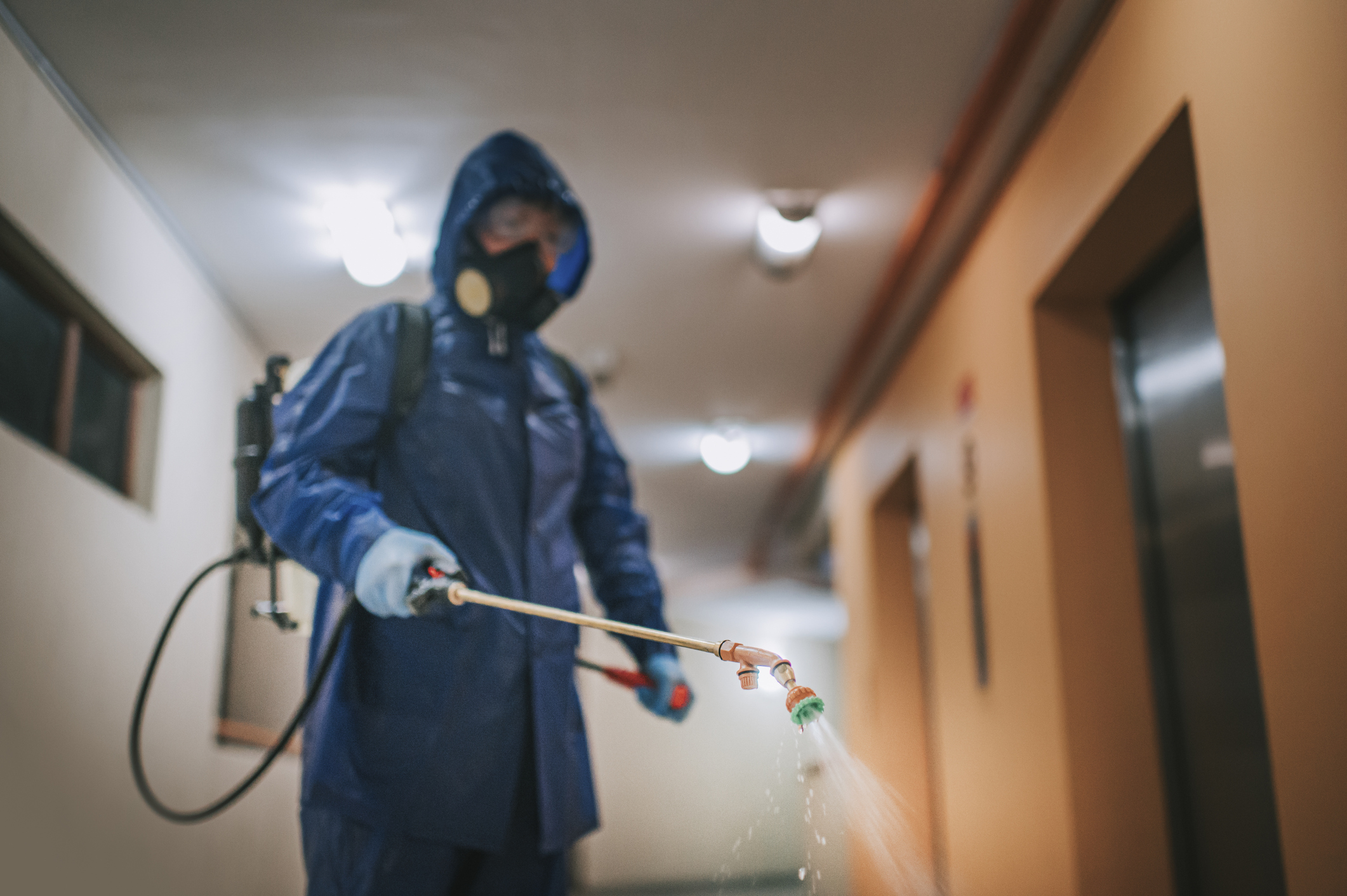 Employee disinfecting a hallway with a spray