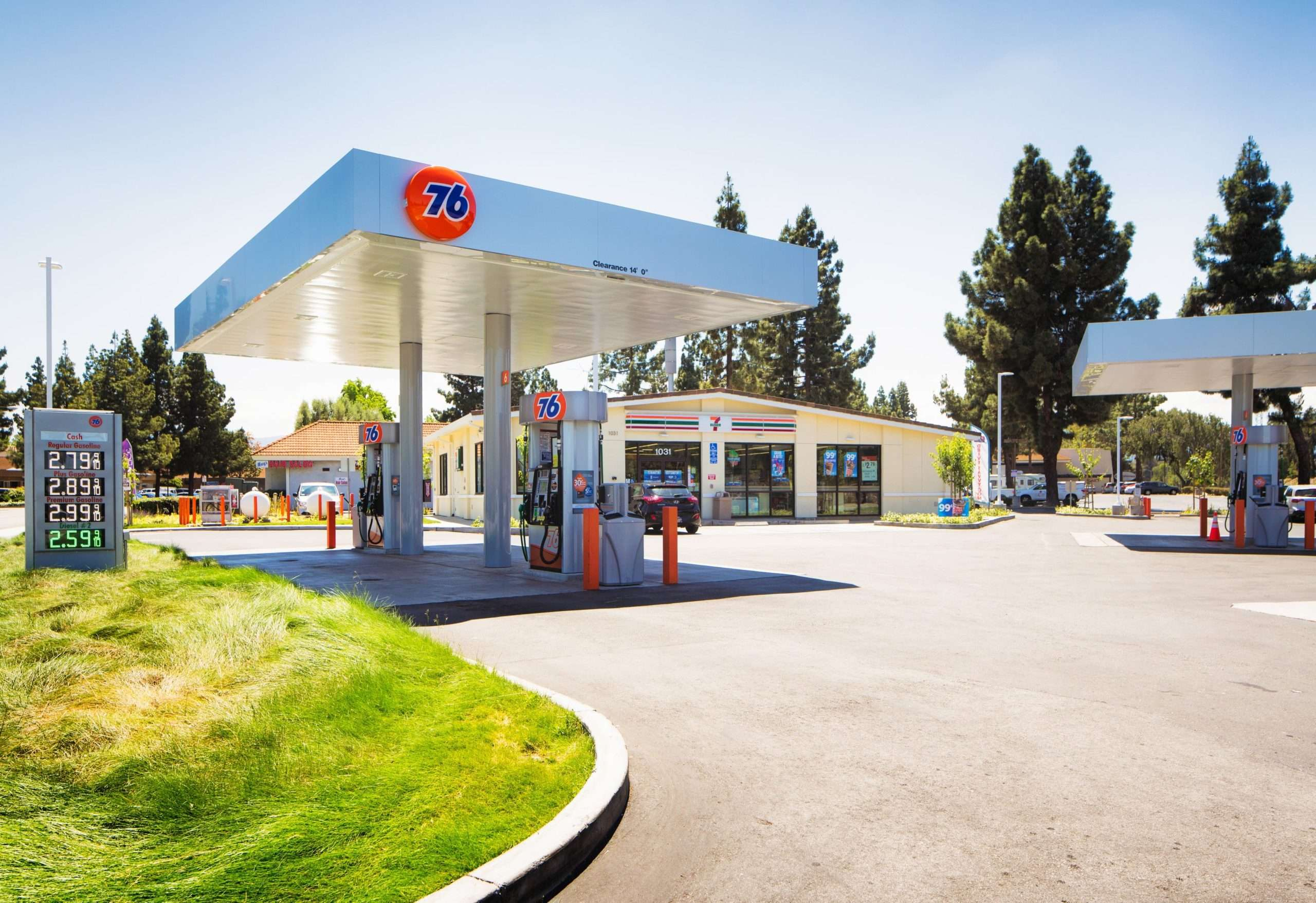 A 76 gas station viewed from afar