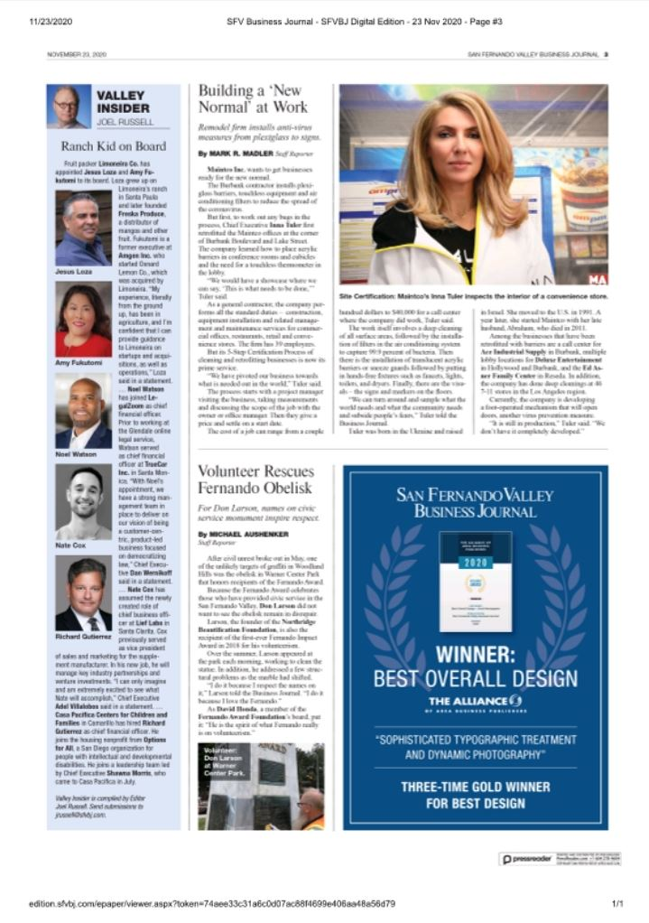 Maintco Corp CEO, Inna Tuler, being featured in the San Fernando Valley Business journal
