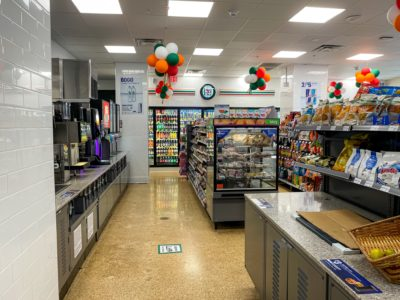 The interior of a brand new 7-Eleven built by Maintco Corp