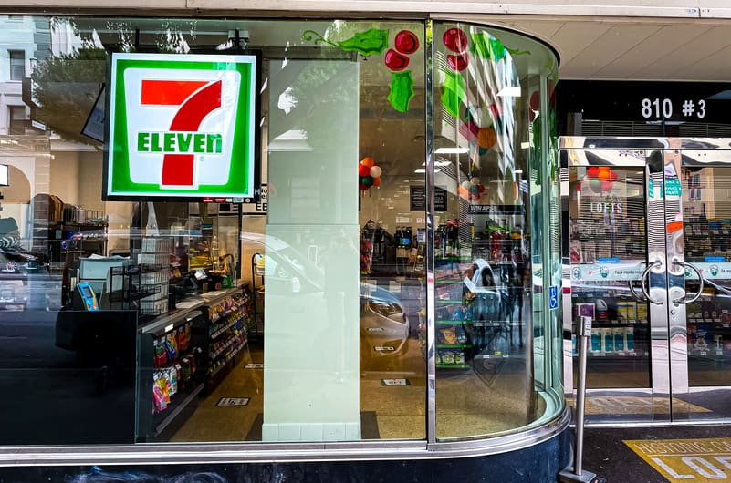 The exterior of the 7-Eleven on Flower Street built by Maintco Corp