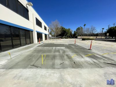A newly paved handicapped section in a Chatsworth business's parking lot