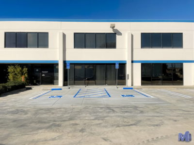 A Chatsworth business's brand new handicapped parking spots made by Maintco Corp