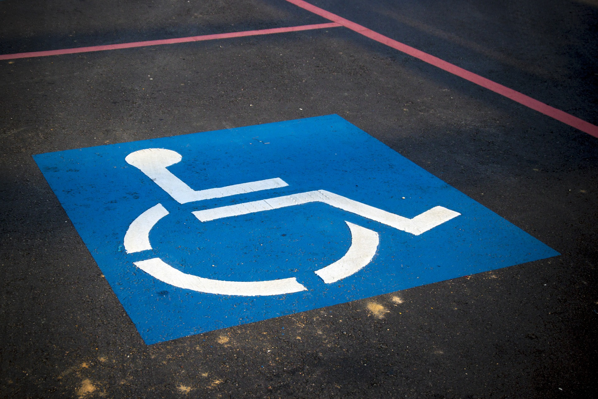 Close up of a handicapped parking space incorporating the International Symbol of Access